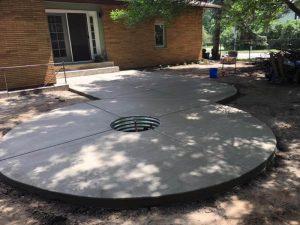 circle concrete patio